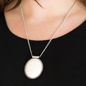 Silver Necklace With White Crackle Stone Pendant